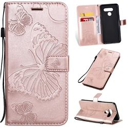 Embossing 3D Butterfly Leather Wallet Case for LG Q60 - Rose Gold