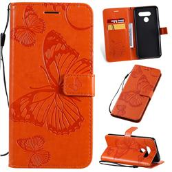 Embossing 3D Butterfly Leather Wallet Case for LG Q60 - Orange