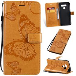 Embossing 3D Butterfly Leather Wallet Case for LG Q60 - Yellow