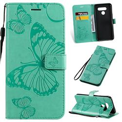 Embossing 3D Butterfly Leather Wallet Case for LG Q60 - Green