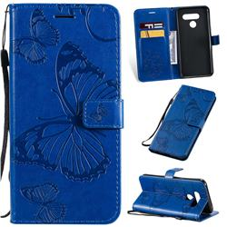 Embossing 3D Butterfly Leather Wallet Case for LG Q60 - Blue