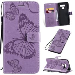 Embossing 3D Butterfly Leather Wallet Case for LG Q60 - Purple