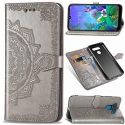 Embossing Imprint Mandala Flower Leather Wallet Case for LG Q60 - Gray