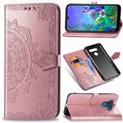 Embossing Imprint Mandala Flower Leather Wallet Case for LG Q60 - Rose Gold