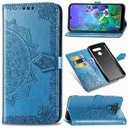Embossing Imprint Mandala Flower Leather Wallet Case for LG Q60 - Blue