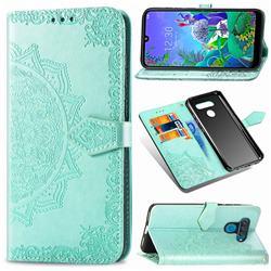 Embossing Imprint Mandala Flower Leather Wallet Case for LG Q60 - Green