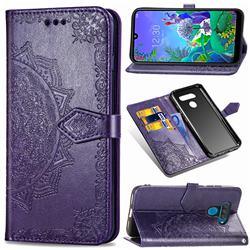 Embossing Imprint Mandala Flower Leather Wallet Case for LG Q60 - Purple