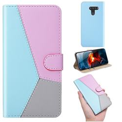 Tricolour Stitching Wallet Flip Cover for LG Q60 - Blue