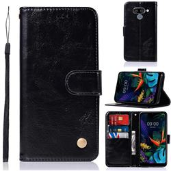 Luxury Retro Leather Wallet Case for LG Q60 - Black