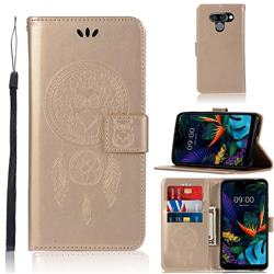 Intricate Embossing Owl Campanula Leather Wallet Case for LG Q60 - Champagne
