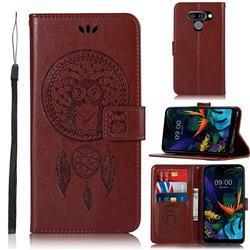Intricate Embossing Owl Campanula Leather Wallet Case for LG Q60 - Brown