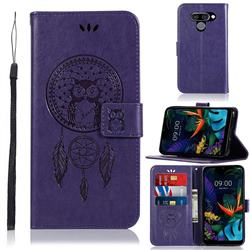 Intricate Embossing Owl Campanula Leather Wallet Case for LG Q60 - Purple