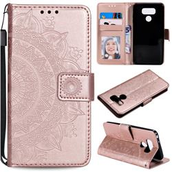 Intricate Embossing Datura Leather Wallet Case for LG Q60 - Rose Gold