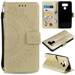 Intricate Embossing Datura Leather Wallet Case for LG Q60 - Golden