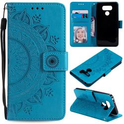Intricate Embossing Datura Leather Wallet Case for LG Q60 - Blue