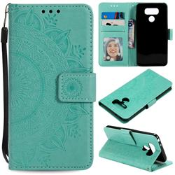 Intricate Embossing Datura Leather Wallet Case for LG Q60 - Mint Green