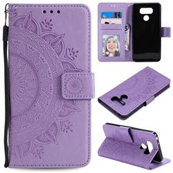 Intricate Embossing Datura Leather Wallet Case for LG Q60 - Purple