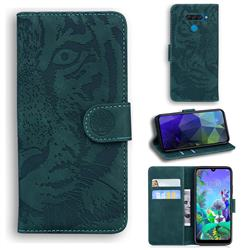 Intricate Embossing Tiger Face Leather Wallet Case for LG Q60 - Green