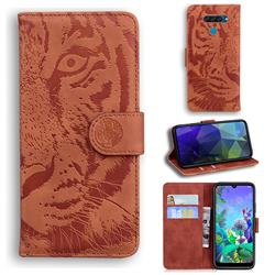 Intricate Embossing Tiger Face Leather Wallet Case for LG Q60 - Brown