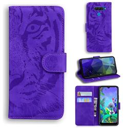 Intricate Embossing Tiger Face Leather Wallet Case for LG Q60 - Purple