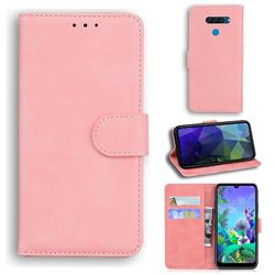Retro Classic Skin Feel Leather Wallet Phone Case for LG Q60 - Pink