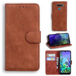Retro Classic Skin Feel Leather Wallet Phone Case for LG Q60 - Brown