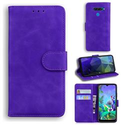 Retro Classic Skin Feel Leather Wallet Phone Case for LG Q60 - Purple