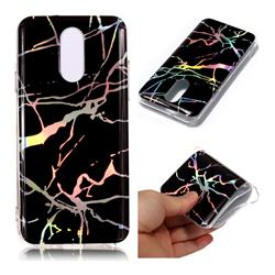 Plating Black Marble Pattern Bright Color Laser Soft TPU Case for LG Q7 / Q7+ / Q7 Alpha / Q7α