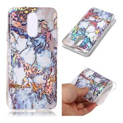 Gold Plating Marble Pattern Bright Color Laser Soft TPU Case for LG Q7 / Q7+ / Q7 Alpha / Q7α