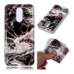 White Black Marble Pattern Bright Color Laser Soft TPU Case for LG Q7 / Q7+ / Q7 Alpha / Q7α
