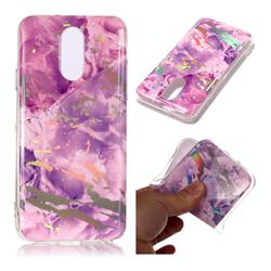 Purple Marble Pattern Bright Color Laser Soft TPU Case for LG Q7 / Q7+ / Q7 Alpha / Q7α