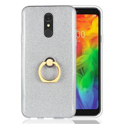 Luxury Soft TPU Glitter Back Ring Cover with 360 Rotate Finger Holder Buckle for LG Q7 / Q7+ / Q7 Alpha / Q7α - White
