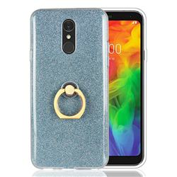 Luxury Soft TPU Glitter Back Ring Cover with 360 Rotate Finger Holder Buckle for LG Q7 / Q7+ / Q7 Alpha / Q7α - Blue