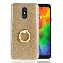 Luxury Soft TPU Glitter Back Ring Cover with 360 Rotate Finger Holder Buckle for LG Q7 / Q7+ / Q7 Alpha / Q7α - Golden