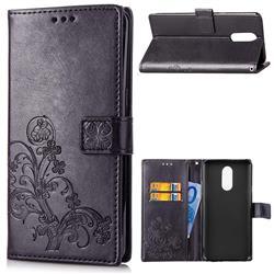 Embossing Imprint Four-Leaf Clover Leather Wallet Case for LG Q7 / Q7+ / Q7 Alpha / Q7α - Black