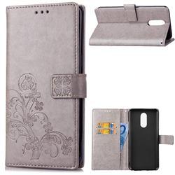 Embossing Imprint Four-Leaf Clover Leather Wallet Case for LG Q7 / Q7+ / Q7 Alpha / Q7α - Grey