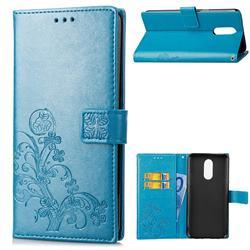 Embossing Imprint Four-Leaf Clover Leather Wallet Case for LG Q7 / Q7+ / Q7 Alpha / Q7α - Blue