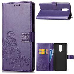 Embossing Imprint Four-Leaf Clover Leather Wallet Case for LG Q7 / Q7+ / Q7 Alpha / Q7α - Purple