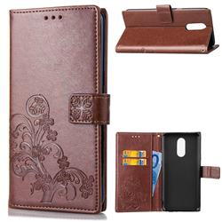 Embossing Imprint Four-Leaf Clover Leather Wallet Case for LG Q7 / Q7+ / Q7 Alpha / Q7α - Brown
