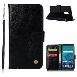 Luxury Retro Leather Wallet Case for LG Q7 / Q7+ / Q7 Alpha / Q7α - Black