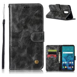 Luxury Retro Leather Wallet Case for LG Q7 / Q7+ / Q7 Alpha / Q7α - Gray