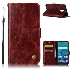 Luxury Retro Leather Wallet Case for LG Q7 / Q7+ / Q7 Alpha / Q7α - Wine Red