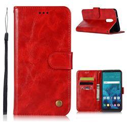 Luxury Retro Leather Wallet Case for LG Q7 / Q7+ / Q7 Alpha / Q7α - Red