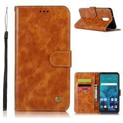 Luxury Retro Leather Wallet Case for LG Q7 / Q7+ / Q7 Alpha / Q7α - Golden
