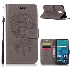 Intricate Embossing Owl Campanula Leather Wallet Case for LG Q7 / Q7+ / Q7 Alpha / Q7α - Grey