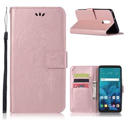 Intricate Embossing Owl Campanula Leather Wallet Case for LG Q7 / Q7+ / Q7 Alpha / Q7α - Rose Gold