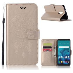 Intricate Embossing Owl Campanula Leather Wallet Case for LG Q7 / Q7+ / Q7 Alpha / Q7α - Champagne