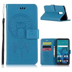 Intricate Embossing Owl Campanula Leather Wallet Case for LG Q7 / Q7+ / Q7 Alpha / Q7α - Blue