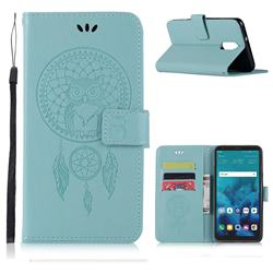 Intricate Embossing Owl Campanula Leather Wallet Case for LG Q7 / Q7+ / Q7 Alpha / Q7α - Green