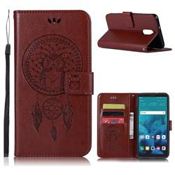 Intricate Embossing Owl Campanula Leather Wallet Case for LG Q7 / Q7+ / Q7 Alpha / Q7α - Brown